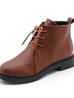 cheap -Women's Shoes PU Spring Fall Comfort Boots For Outdoor Brown Black