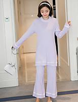 Costumes Pyjamas Femme,Dentelle Fleurie Pois Coton Violet Gris Clair