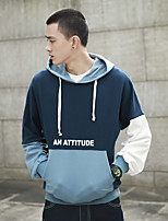 cheap -Men's Going out Beach Hoodie Color Block Cotton Polyester Long Sleeves