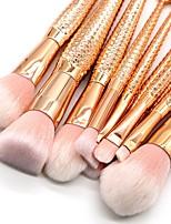 10 pezzi Set di pennelli Capelli sintetici Coppa larga Plastica Viso