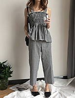 Women's Daily Going out Casual Chinoiserie Fall Tank Top Pant Suits,Solid Color Block Strap Sleeveless Cotton Polyester