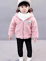 Girls' Solid Jacket & Coat,Cotton Long Sleeves Casual Blushing Pink