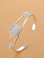 Bracelet manchette pour femme élégant bijoux de fleur d'argent pour la fête de mariage