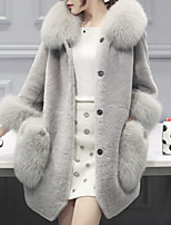Women's Going out Casual/Daily Simple Fall Winter Fur Coat,Solid Hooded Long Sleeves Regular Faux Fur