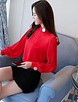 Недорогие -Для женщин На каждый день Рубашка Вырез под горло,Изысканный Однотонный Длинный рукав,Хлопок