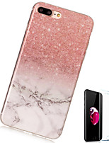 baratos -Capinha Para Apple iPhone X iPhone 8 Plus Estampada Capa traseira Mármore Macia TPU para iPhone X iPhone 8 Plus iPhone 8 iPhone 7 Plus