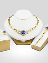 Women's Cubic Zirconia Synthetic Sapphire Wedding Evening Party Cubic Zirconia Gold Plated