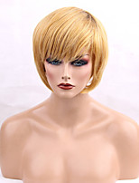 cheap -Women Human Hair Capless Wigs Yellow Short Straight Side Part Ombre Hair