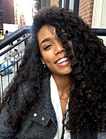 Women Human Hair Lace Wig Indian Remy 360 Frontal 180% Density With Baby Hair Curly Weave Wig Black Medium Length