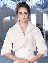 3/4 Length Sleeves Faux Fur Wedding Party / Evening Women's Wrap With Feather/ Fur Lace-up Pom-pom Shrugs