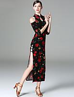 baratos -Dança do Ventre Vestidos Mulheres Apresentação Linho Com Fenda Meia manga Vestido