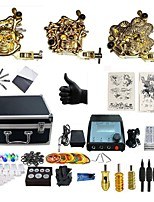 Basekey Professional Tattoo Golden Kit 3 Machines  Liner & Shader With Power Supply Grips Cleaning Brush  Needles