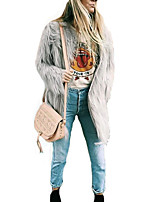 Women's Daily Work Simple Casual Winter Fall Fur Coat,Solid V Neck Long Sleeves Long Rabbit Fur Raccoon Fur