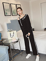 Women's Daily Casual Winter Set Pant Suits,Solid Off-the-shoulder Long Sleeves Cotton