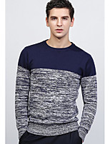 Men's Daily Regular Pullover,Print Round Neck Long Sleeves Cotton Medium Micro-elastic