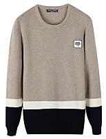 Men's Daily Regular Cardigan,Color Block Round Neck Long Sleeves Cotton Medium Micro-elastic