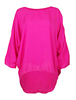 cheap -Women's Daily Going out Cute Sexy Summer Fall Blouse,Solid Round Neck Long Sleeves Polyester Semi-opaque