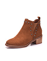 cheap -Women's Shoes PU Fall Winter Fluff Lining Boots Chunky Heel Square Toe Booties/Ankle Boots Rivet For Casual Brown Black