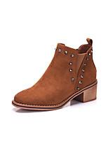 preiswerte -Damen Schuhe PU Winter Herbst Flaum Futter Stiefel Blockabsatz Quadratischer Zeh Booties / Stiefeletten Niete Für Normal Schwarz Braun