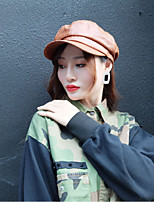 cheap -Unisex PU Beret Hat,Vintage Solid Spring, Fall, Winter, Summer Stylish Black Brown