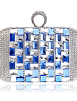 Women Bags Metal Evening Bag Crystal Detailing for Event/Party Casual All Season Blue Champagne Red Silver