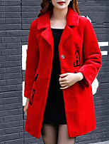 Women's Daily Going out Street chic Winter Fall Fur Coat,Solid Shirt Collar Long Sleeves Regular Wool