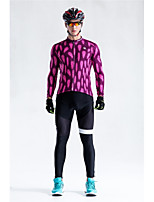 Cycling Jersey with Bib Tights Unisex Long Sleeves Bike Bib Tights Jersey Reflective Strip Fast Dry Quick Dry Anatomic Design High