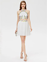 A-Line Jewel Neck Short / Mini Chiffon Cocktail Party Dress with Beading Crystal Detailing Pleats Bandage by TS Couture®