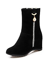 cheap -Women's Shoes Leatherette Winter Comfort Boots Wedge Heel Round Toe Booties/Ankle Boots Rhinestone For Party & Evening Dress Black