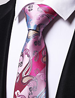 Men's Polyester Necktie,Work Casual Floral All Seasons Red