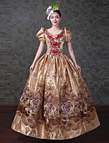 cheap -Vintage Rococo Victorian Costume Women's Adults' One Piece Dress Party Costume Masquerade Golden Vintage Cosplay Satin/ Tulle Tulle