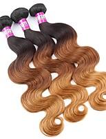 3 Peças Preto / Medium Brown / louro da morango Ondulado Cabelo Brasileiro Tramas de cabelo humano Extensões de cabelo