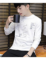 cheap -Men's Daily Going out Sweatshirt Solid Print Round Neck Micro-elastic Cotton Long Sleeves Winter Fall