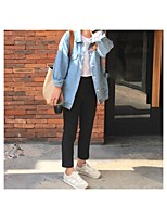 Women's Going out Simple Fall Denim Jacket,Solid Regular Cotton