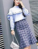 Chemisier Robes Costumes Femme,Couleur Pleine Décontracté / Quotidien simple Hiver Automne Manches 3/4 Col Arrondi Nylon