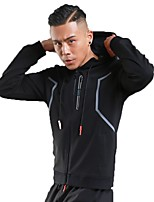 Men's Running Jacket Long Sleeves Thermal / Warm Breathable Hoodie for Running/Jogging Fitness Polyster White Black Grey Royal Blue S M L