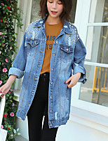 Women's Daily Wear Casual/Daily Simple Fall Denim Jacket,Solid Shirt Collar Long Sleeves Long Cotton