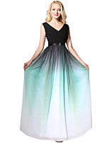 A-Line V-neck Floor Length Chiffon Prom Formal Evening Dress with Pleats by Sarahbridal