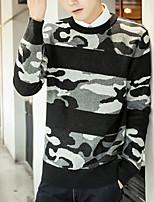 Men's Daily Casual Regular Pullover,Color Block Round Neck Long Sleeves Cotton Spring/Fall Medium Micro-elastic