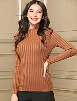 Baoyan Women's Casual/Daily Simple Regular Pullover,Solid Turtleneck Long Sleeves Acrylic Winter Medium Micro-elastic