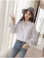 cheap -Women's Daily Sophisticated Shirt,Solid Shirt Collar Long Sleeves Cotton