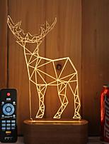1 set di 3d in legno massello ha condotto la luce di notte usb umore lampada telecomando oscuramento regalo antilope