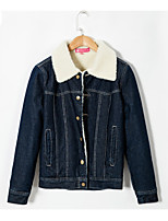 cheap -Women's Daily Simple Casual Winter Fall Denim Jacket,Solid V Neck Long Sleeve Short Cotton Oversized