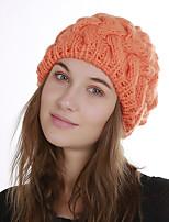 Недорогие -Для женщин Винтаж Очаровательный На каждый день Широкополая шляпа,Зима Акрил Романский трикотаж Цветочный Плетение Черный Оранжевый