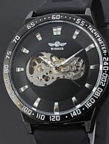 abordables -WINNER Hombre Reloj de Vestir Reloj de Pulsera El reloj mecánico Cuerda Automática Huecograbado Piel Banda Lujo Vintage Casual Cool Negro