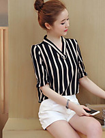 cheap -Women's Daily Wear Vintage Sophisticated Shirt,Solid Striped V Neck Long Sleeves Cotton