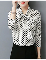 cheap -Women's Daily Cute Shirt,Polka Dot Stand Long Sleeves Polyester
