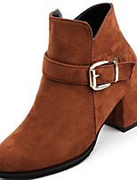 cheap -Women's Shoes PU Winter Comfort Boots Round Toe Booties/Ankle Boots For Casual Outdoor Brown Black