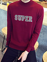Men's Casual/Daily Short Pullover,Solid Print Round Neck Long Sleeves Cotton Fall Winter Medium Micro-elastic