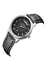 MEGIR Homens Mulheres Relógio Casual Relógio de Moda Relógio Elegante Relógio de Pulso Quartzo Calendário Couro Legitimo Banda Casual